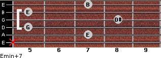 Emin(+7) for guitar on frets x, 7, 5, 8, 5, 7