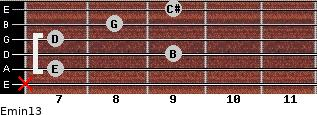 Emin13 for guitar on frets x, 7, 9, 7, 8, 9