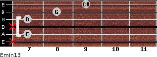 Emin13 for guitar on frets x, 7, x, 7, 8, 9