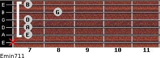 Emin7/11 for guitar on frets x, 7, 7, 7, 8, 7