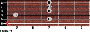 Emin7/9 for guitar on frets x, 7, 5, 7, 7, 7