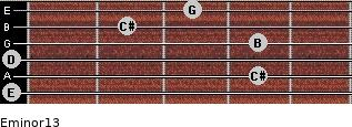 Eminor13 for guitar on frets 0, 4, 0, 4, 2, 3
