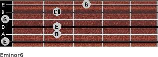Eminor6 for guitar on frets 0, 2, 2, 0, 2, 3