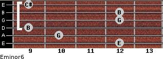 Eminor6 for guitar on frets 12, 10, 9, 12, 12, 9