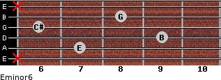 Eminor6 for guitar on frets x, 7, 9, 6, 8, x