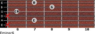Eminor6 for guitar on frets x, 7, x, 6, 8, 7