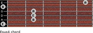 Esus4 for guitar on frets 0, 2, 2, 2, 0, 5