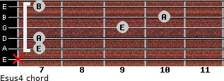 Esus4 for guitar on frets x, 7, 7, 9, 10, 7