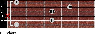 F11 for guitar on frets 1, 3, x, 3, 4, 1