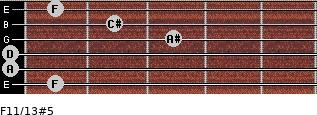 F11/13#5 for guitar on frets 1, 0, 0, 3, 2, 1