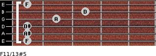 F11/13#5 for guitar on frets 1, 1, 1, 2, 3, 1