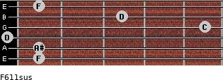 F6/11sus for guitar on frets 1, 1, 0, 5, 3, 1