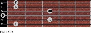 F6/11sus for guitar on frets 1, 3, 0, 3, 1, 1