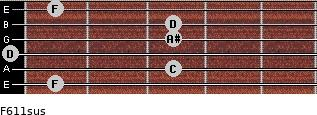 F6/11sus for guitar on frets 1, 3, 0, 3, 3, 1