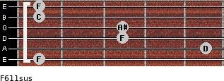 F6/11sus for guitar on frets 1, 5, 3, 3, 1, 1