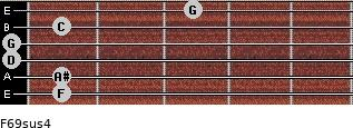 F6/9sus4 for guitar on frets 1, 1, 0, 0, 1, 3