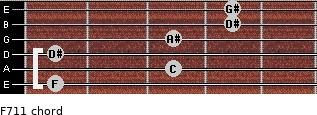 F-7/11 for guitar on frets 1, 3, 1, 3, 4, 4