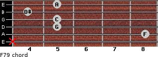 F7/9 for guitar on frets x, 8, 5, 5, 4, 5