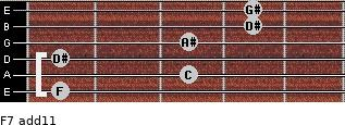 F-7(add11) for guitar on frets 1, 3, 1, 3, 4, 4