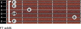 F7(add6) for guitar on frets 1, 5, 1, 2, 1, 1