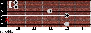 F7(add6) for guitar on frets 13, x, 13, 12, 10, 10