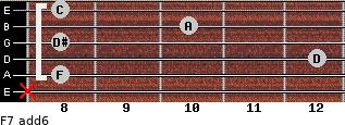 F7(add6) for guitar on frets x, 8, 12, 8, 10, 8