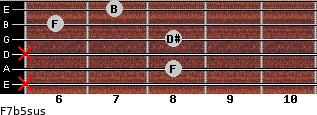 F7b5sus for guitar on frets x, 8, x, 8, 6, 7