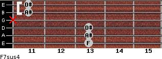 F7sus4 for guitar on frets 13, 13, 13, x, 11, 11