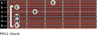 F9/11 for guitar on frets 1, 1, 1, 2, 1, 3