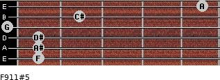 F9/11#5 for guitar on frets 1, 1, 1, 0, 2, 5