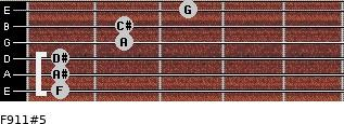 F9/11#5 for guitar on frets 1, 1, 1, 2, 2, 3