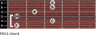 F9/13 for guitar on frets 1, 3, 1, 2, 3, 3