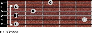 F9/13 for guitar on frets 1, 5, 1, 2, 1, 3