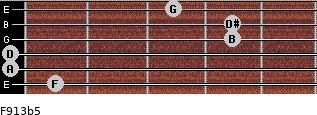 F9/13b5 for guitar on frets 1, 0, 0, 4, 4, 3
