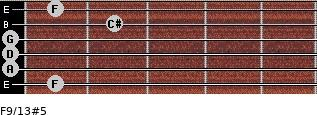 F9/13#5 for guitar on frets 1, 0, 0, 0, 2, 1