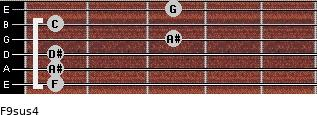 F9sus4 for guitar on frets 1, 1, 1, 3, 1, 3