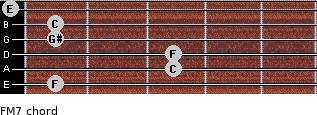 F-(M7) for guitar on frets 1, 3, 3, 1, 1, 0