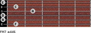 FM7(add6) for guitar on frets 1, 0, 0, 2, 1, 0