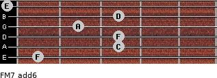 FM7(add6) for guitar on frets 1, 3, 3, 2, 3, 0
