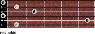 FM7(add6) for guitar on frets 1, 5, 0, 2, 1, 0