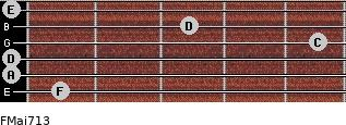 FMaj7/13 for guitar on frets 1, 0, 0, 5, 3, 0