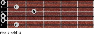 FMaj7(add13) for guitar on frets 1, 0, 0, 2, 1, 0