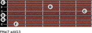 FMaj7(add13) for guitar on frets 1, 0, 0, 5, 3, 0