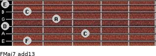 FMaj7(add13) for guitar on frets 1, 3, 0, 2, 1, 0