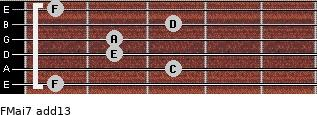 FMaj7(add13) for guitar on frets 1, 3, 2, 2, 3, 1