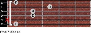 FMaj7(add13) for guitar on frets 1, x, 2, 2, 3, 1
