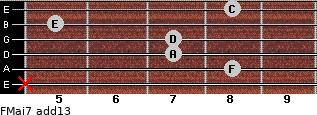 FMaj7(add13) for guitar on frets x, 8, 7, 7, 5, 8