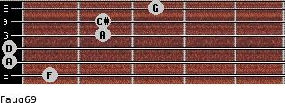 Faug6/9 for guitar on frets 1, 0, 0, 2, 2, 3