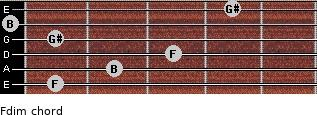 Fdim for guitar on frets 1, 2, 3, 1, 0, 4