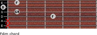 Fdim for guitar on frets x, x, 3, 1, 0, 1